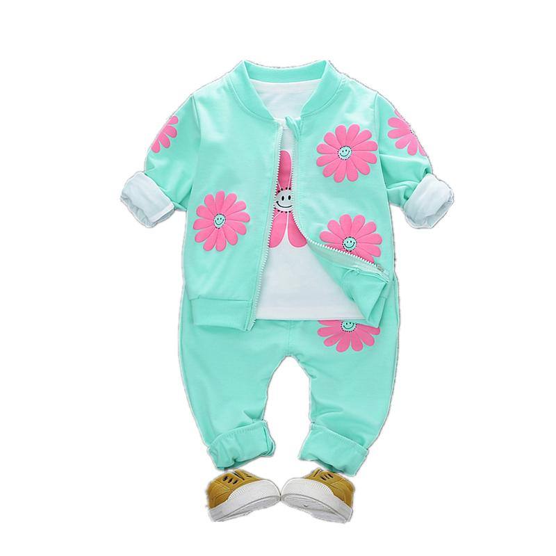 2019 Spring Autumn Children Girls Fashion Clothes Baby Smile Face Jacket T-shirt Pants 3Pcs/sets Cool Infant Outfits For 1-4 Yrs