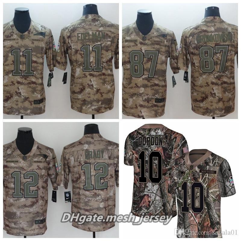 buy popular 10c7e 44b07 Men PPatriots Football Jersey 12 Tom Brady 11 Julian Edelman 87 Rob  Gronkowski Camo Salute to Service Limited Stitching Jersey