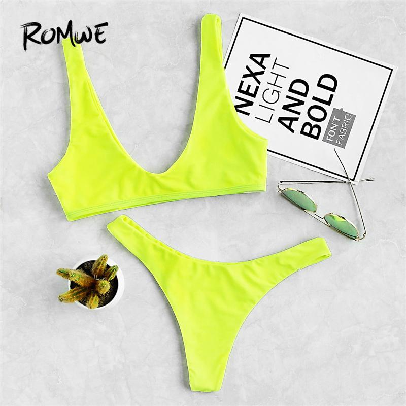 2687a161f4 Romwe Sport Neon Green Plunge Neckline Vest Bikini With High Leg Bottom  Women Bikini Sets Plain Swimsuit Beach Sexy Swimwear Bikinis Set Cheap  Bikinis Set ...