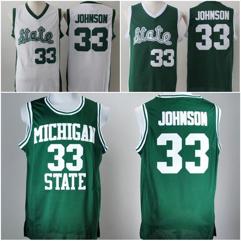 quality design 35342 432b6 33 Earvin Johnson Michigan State Jersey Top quality Magic Johnson Green  White College Jersey Stitched Retro High School Basketball Jersey