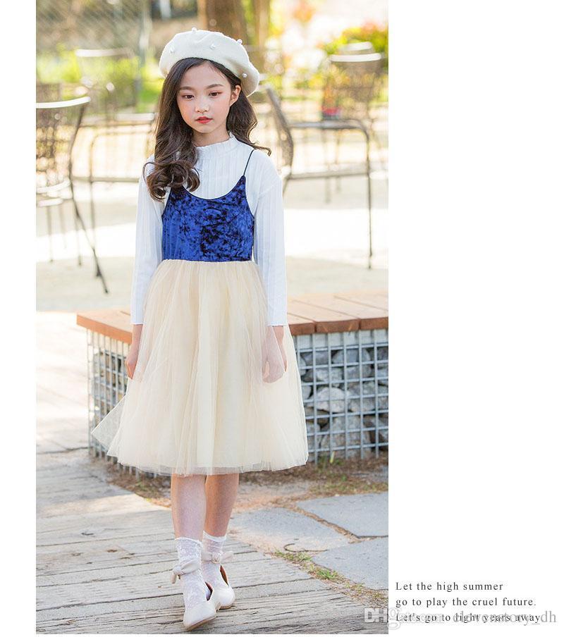 c3e6e80ef5ea 2019 4 To 12 Years Girls Summer Sling Tulle Dresses
