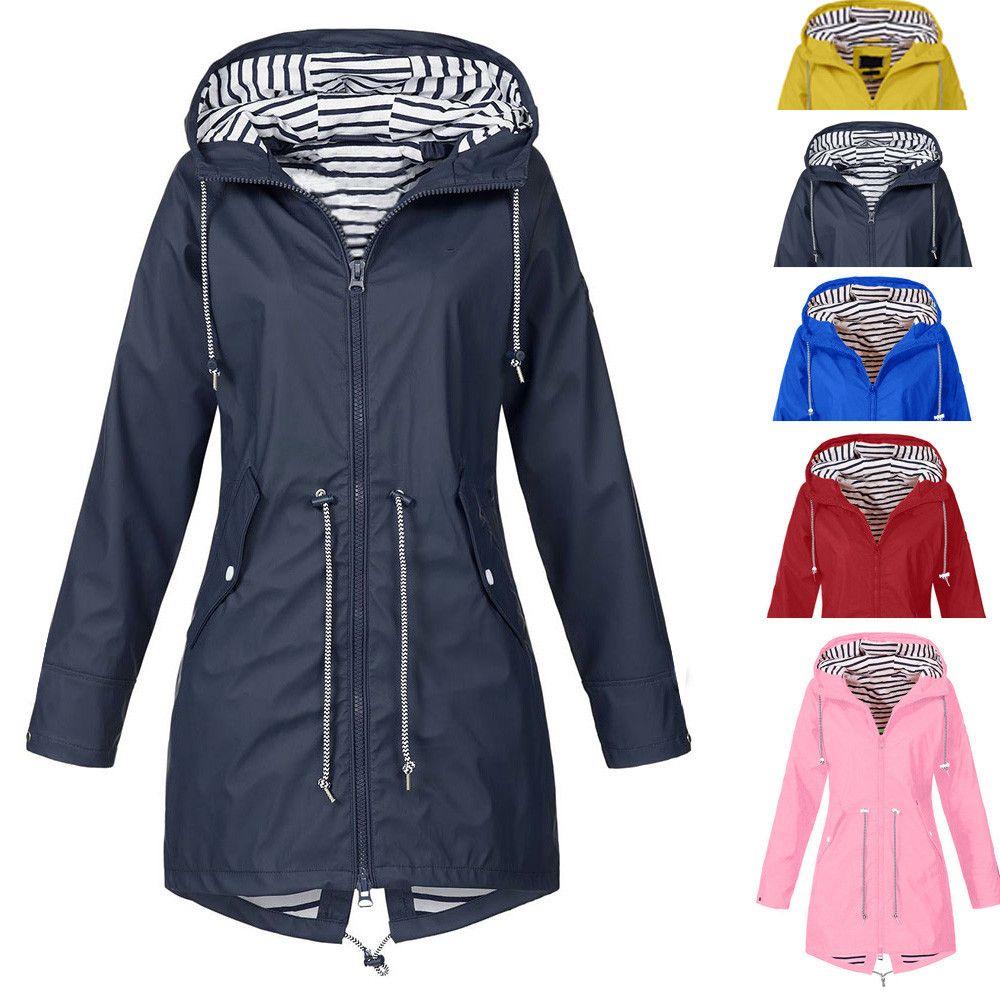 8746a4e8d Waterproof Hooded Raincoat Windproof Jackets Womens Solid Rain Jacket  Outdoor Jackets Spring Autumn long Coats Sport