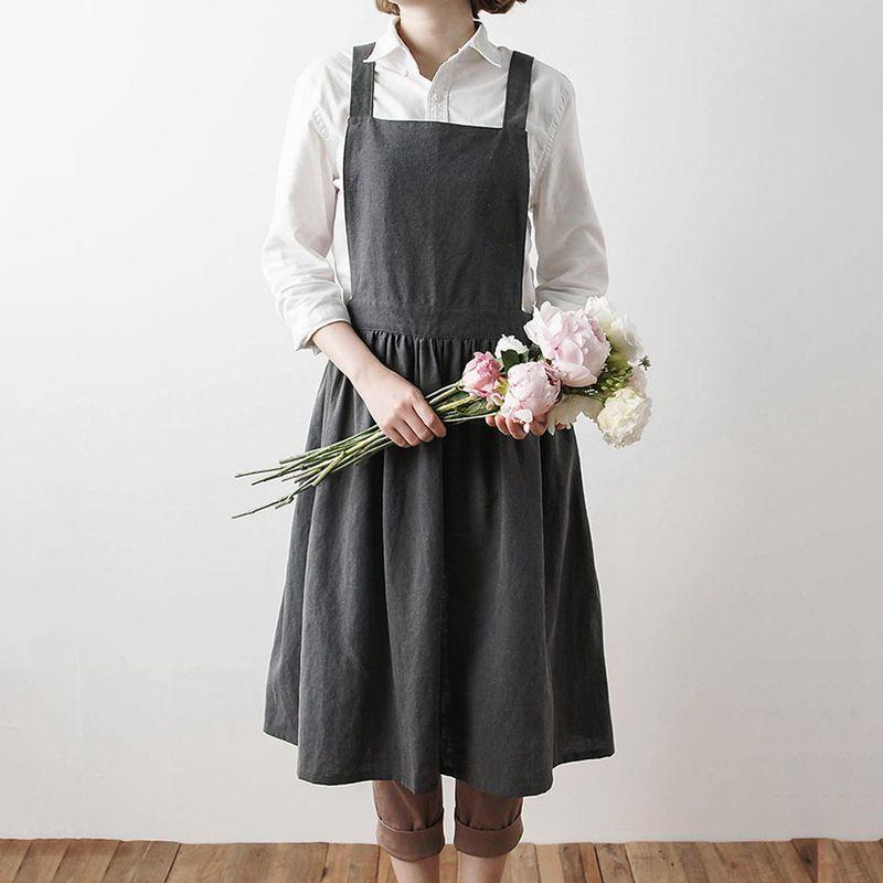 2ec178d24 Delantales Delantales para adultos, uniformes de algodón, lavados,  sencillos, para mujer Cocina de la cocina de señora Jardinería Cafetería