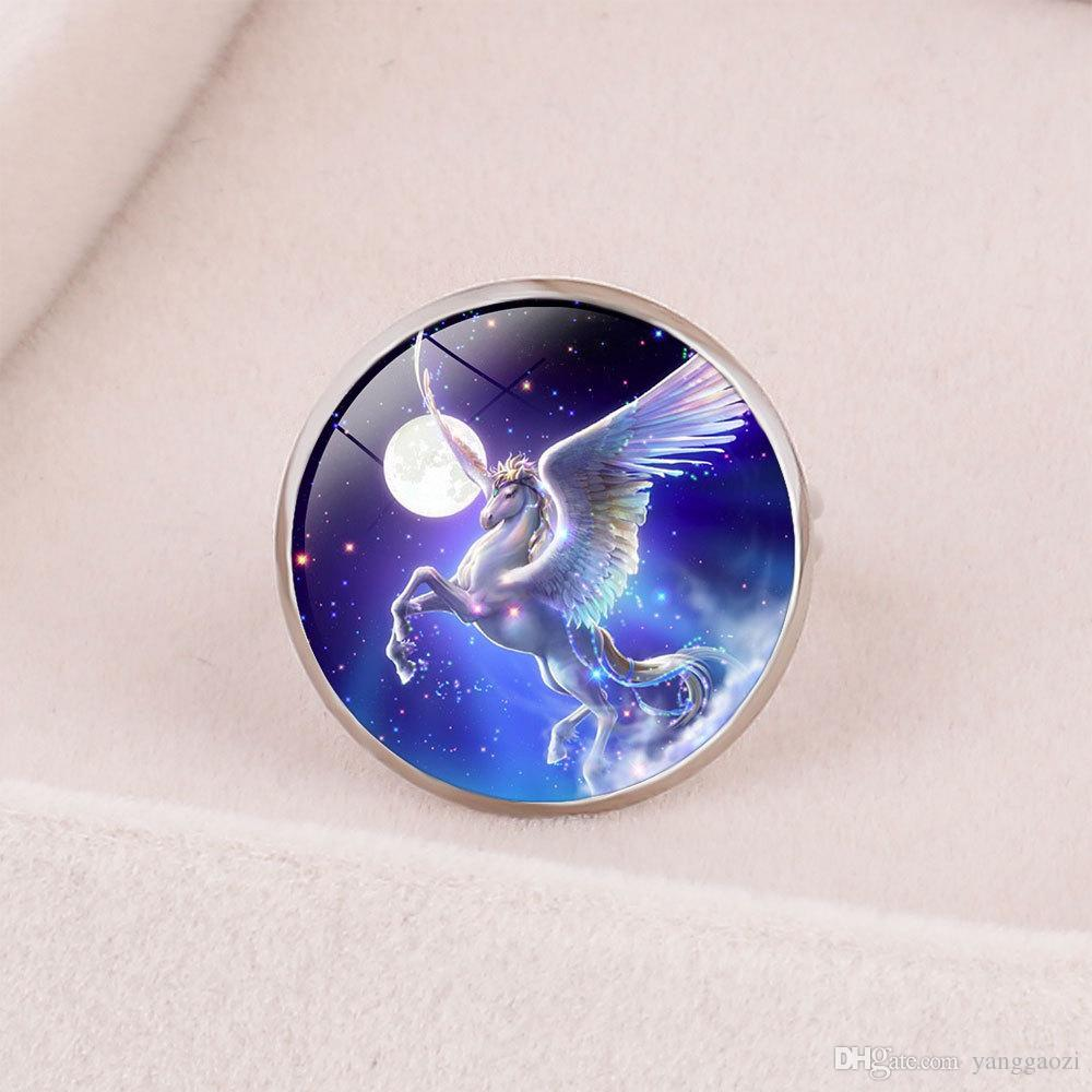 Style3 new fashion accessories Europe and America Creative cartoon children Unicorn Unicorn opening adjustment ring Customizable
