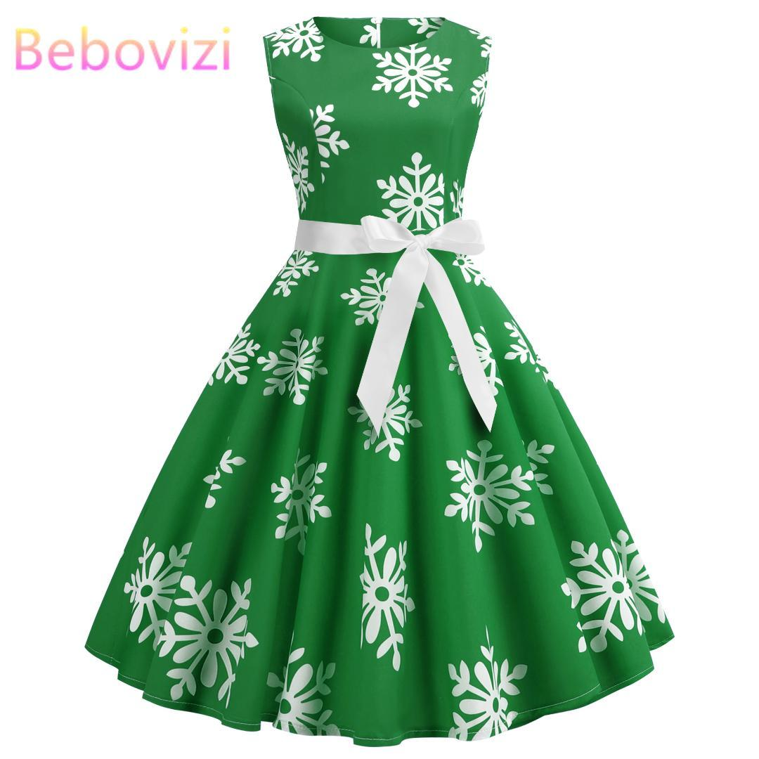 cd1255e95f92 Green Women Dress 2019 Christmas Casual Floral Retro Vintage 50s 60s Robe  Femme Rockabilly Swing Pinup Vestidos Party Dresses Petite Dress Petite  Cocktail ...