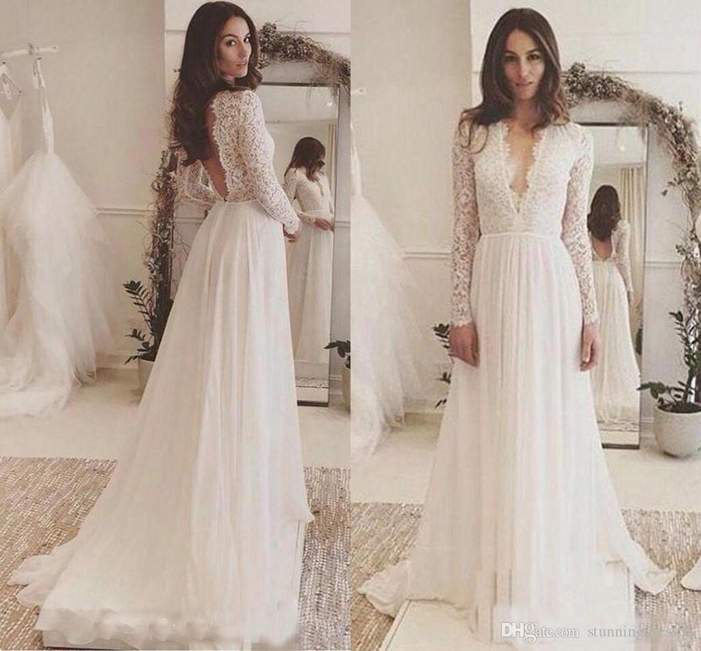 Sexy Deep V Neck Wedding Dresses Cheap Long Sleeves 2019 New Chiffon Lace Court Train Vestidos De Novia Dress Bridal Gowns Green: Cheap Court Wedding Dresses At Websimilar.org