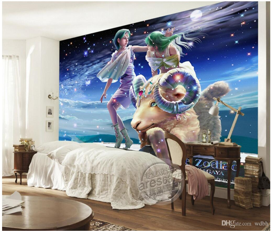 WDBH custom photo 3d wall paper Hand drawn romantic twelve constellation oil painting Aries cartoon 3d wall murals wallpaper for walls 3 d