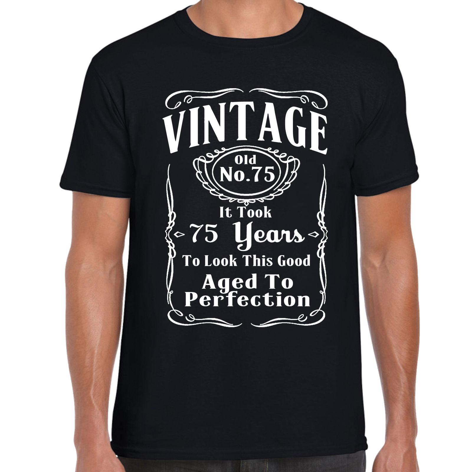 Grabmybits Vintage 75th Birthday T Shirt FunnyGift 75 Years Old Retirment MENS SHIRT Tee Printed Men O Neck Knitted Shirts With Sayings