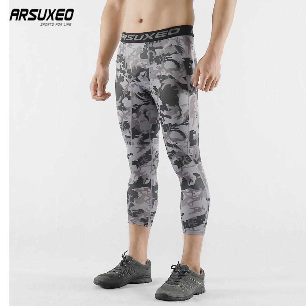 9f3f8c82d2ca5 2019 ARSUXEO Men Sports Camouflage Compression Pants Base Layer 3/4 Running Tights  GYM Fitness Active Training Exercise Trousers K75 From Litchiguo, ...