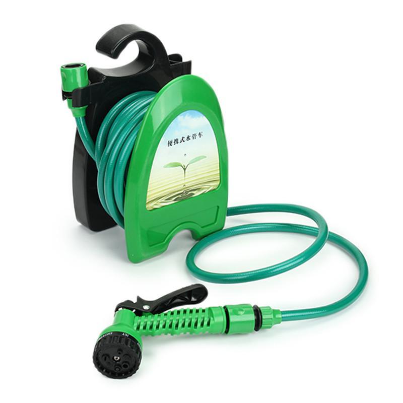 10M 32FT Portable Mini Water Hose Reel Garden Watering Car Washing Hose  Pipe Storage Holder Kit