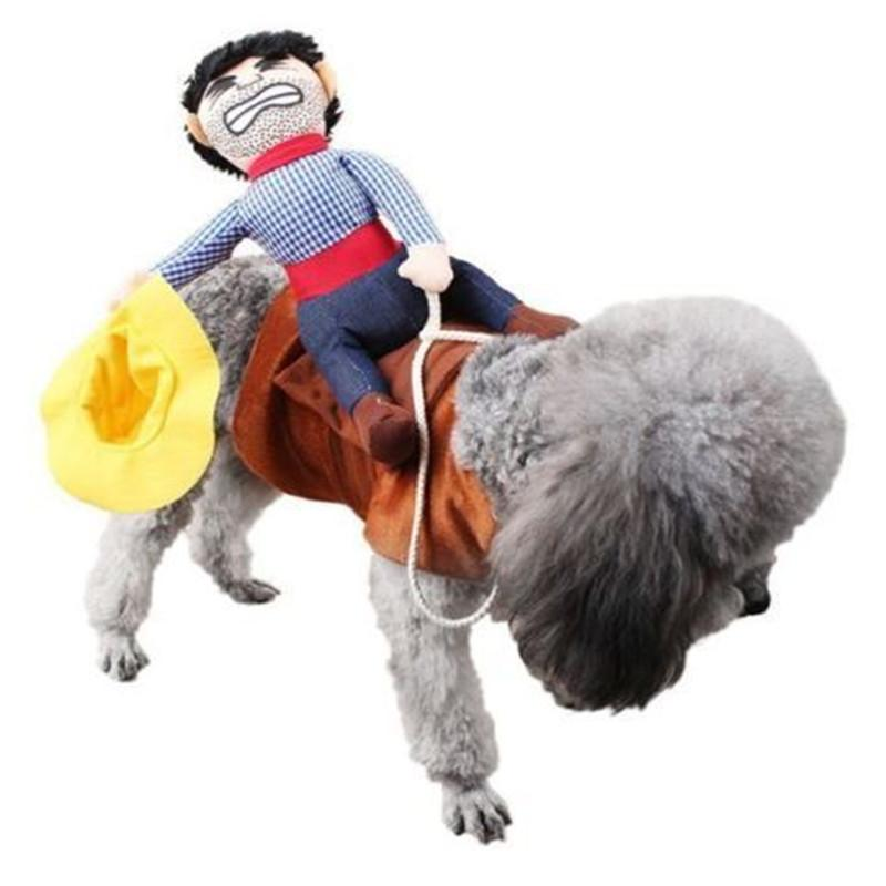 Divertente gatto dell'animale domestico del cane del cowboy Rider vestiti cappotto abbigliamento costume Cosplay Outfit S-XL di Natale Costume Dress Up