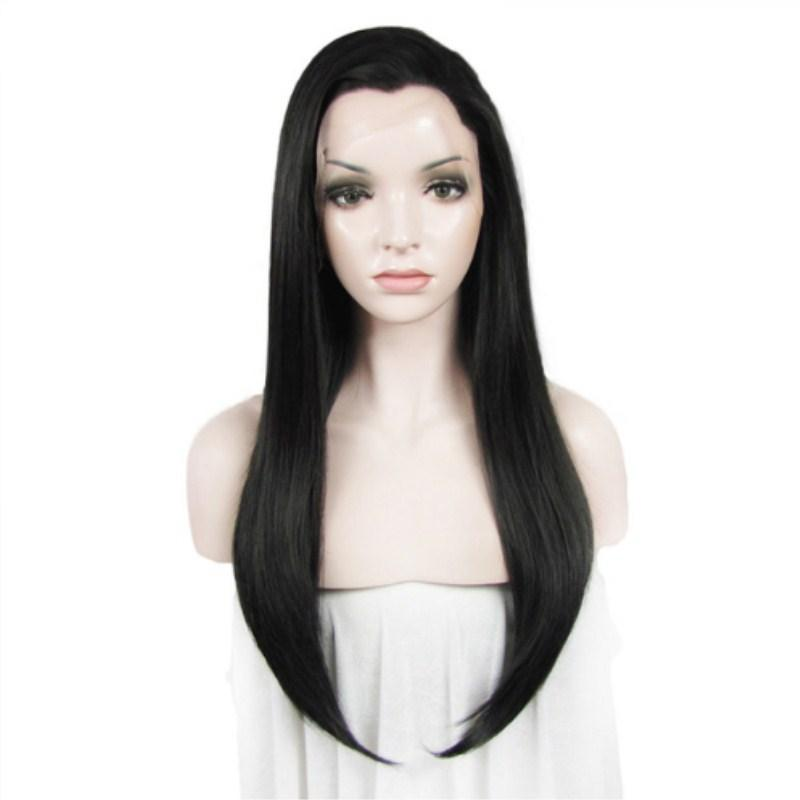 Fashion Natural Black Long Straight Lace Front Wigs For Women Heat Resistant Fiber Hair Free Part Cosplay Wigs with Baby Hair 180% Density