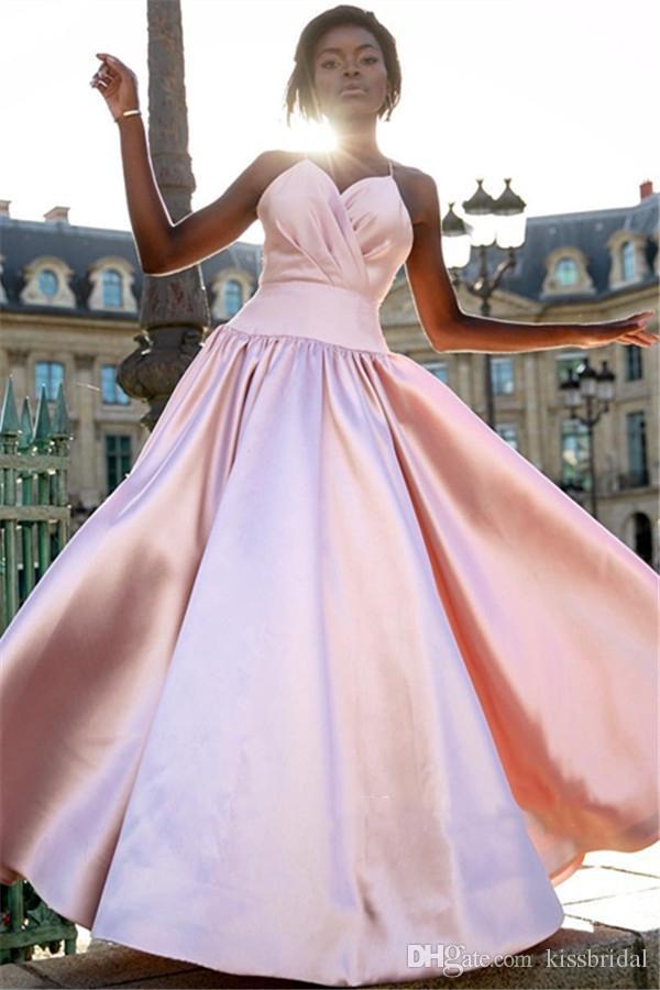 806e73d1b Compre Vestido De Fiesta Con Cuello En V De Color Rosa Vestidos Largos De  Fiesta 2019 Busto Plisado Vestidos De Noche Formales Negro Para Niñas  Quinceañera ...