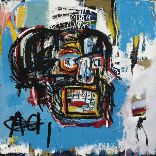 Jean Michel Basquit Oil Painting On Canvas Graffiti Art Blue Head Wall Art Home Decor Large Picture 190921