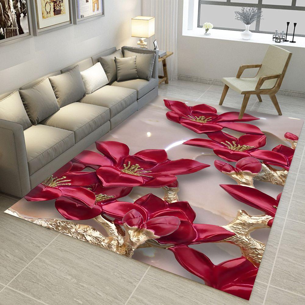 3D Carpets 2000mm x 3000mm Rectangular Rugs Living Room Lotus Flower Rug  Sofa Coffee Table Mat Bedroom Yoga Pad Study Door Mat