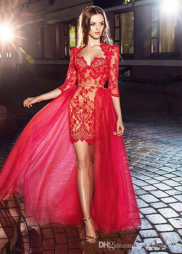 2019 Lace 3/4 Long Sleeves Short Prom Dresses with Tulle Detachable Train Red Cocktail Party Maid of Honor Gowns