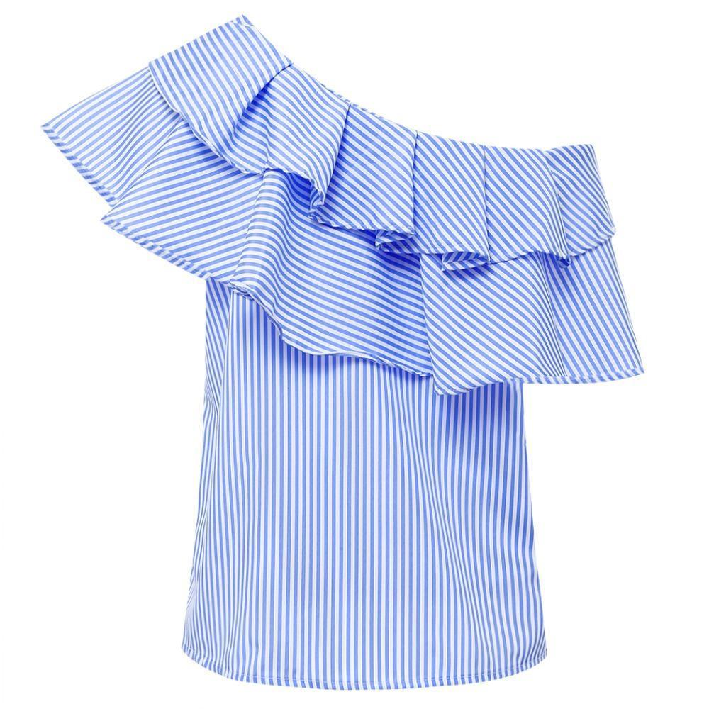 f88f673bceb698 2019 Summer Blouses Women Tops One Shoulder Off Blouses Shirt Ruffle  Striped Shirt Slash Neck Blouse Cold Shoulder Tops Blusas From Uberan,  $26.41 | DHgate.