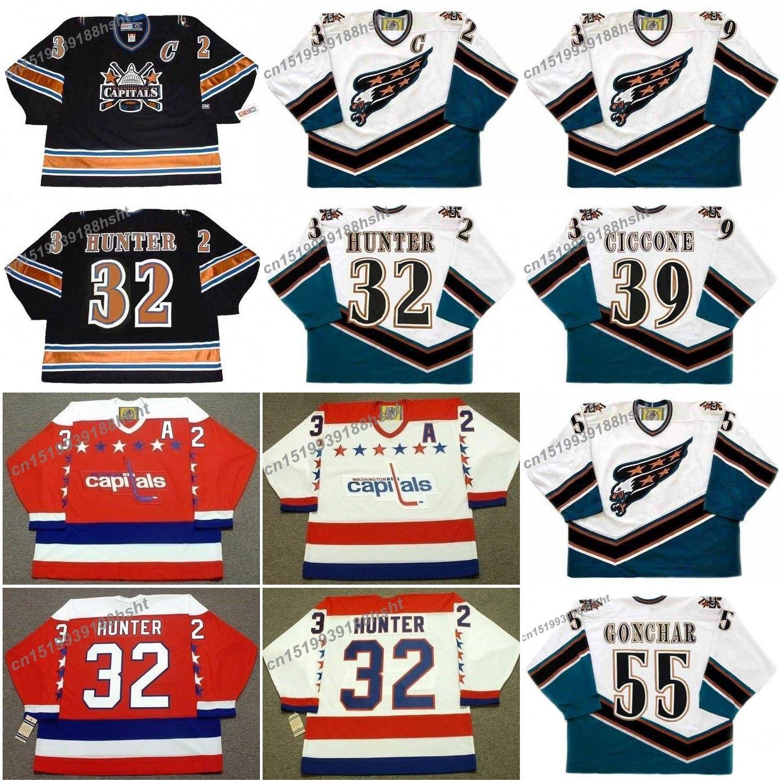 buy popular 0a079 2c56b 32 dale hunter 39 enrico ciccone 55 sergei goncha washington capitals 1990  ccm hockey jersey