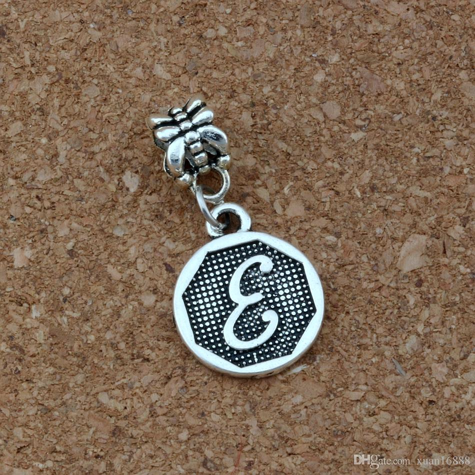 "Antique silver Letter ""E"" Disc Initial Charm Big Hole Dangle European Beads Fit Charm Bracelet Jewelry DIY A-410a"