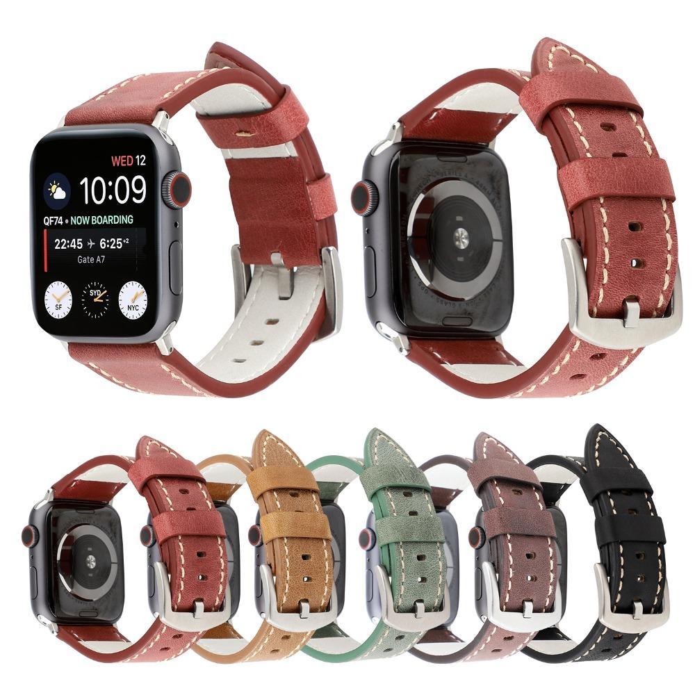 14e6a8e821f Compre Pulseira De Couro Genuíno De Luxo Clássico Para Apple Watch 4 3 2 1  Itália Pulseira De Couro Pulseira Para Iwatch 44mm   42mm   40mm   38mm  Homens De ...
