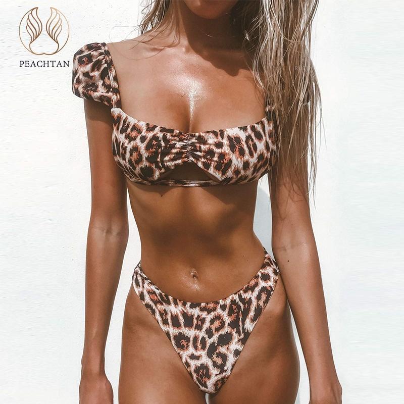 adb1495d628b3 2019 Peachtan Hollow Out Swimsuit Female High Cut Bikini 2019 New Sexy  Leopard Swimwear Women Bathing Suit Bandeau Beachwear Summer From Yuhuicuo,  ...