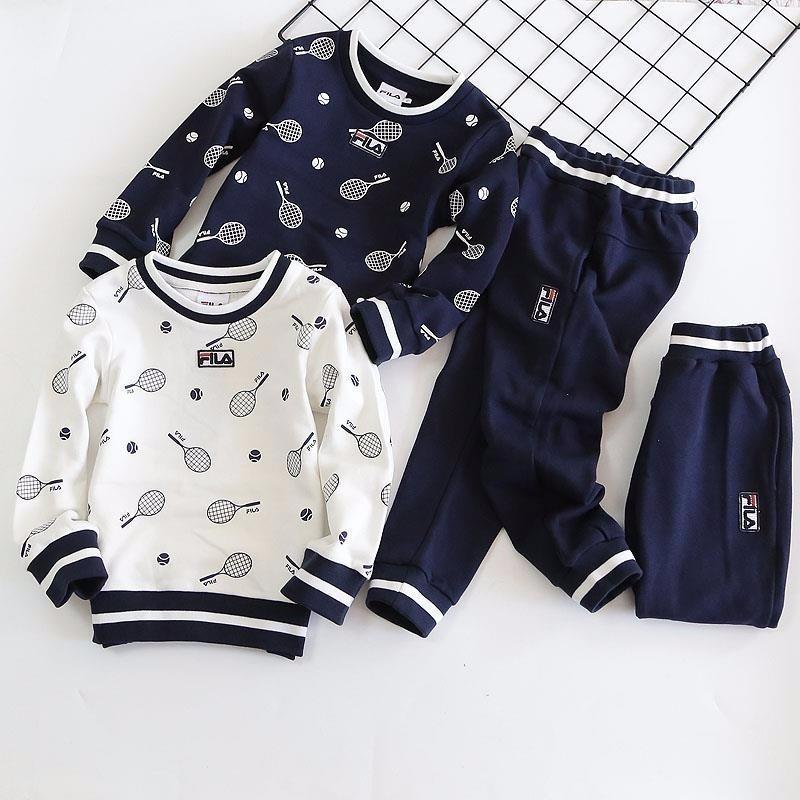85fad1a207785 Acheter Deux Pièces Tenues 2019 Costume Enfants Coréens Mâle Fille  Athlétique Porter Twinset Bébé Enfants Vêtements Ensemble Manches Longues  Pull Vêtements ...