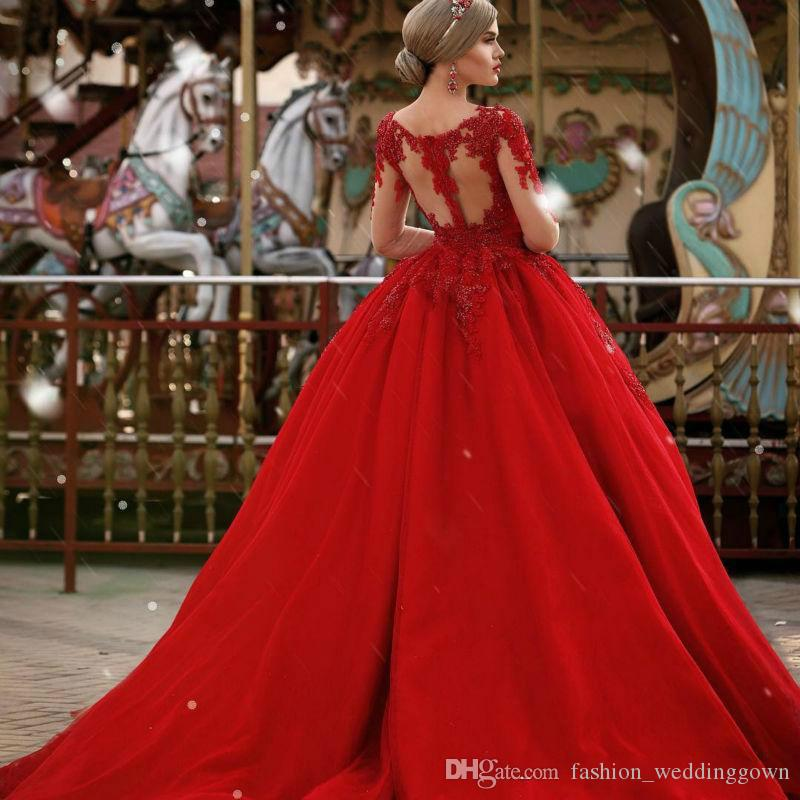 2019 V-neck Long Sleeve Ball Gown Prom Dresses Zipper Back Appliques Beaded Red Formal Evening Party Dresses Vestido De Fiesta