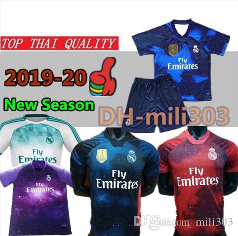 Compre Nuevo 19 20 Camiseta Del Real Madrid EA Sports Jersey 2019 2020  Camiseta De Fútbol MODRIC Marcelo De Alta Calidad BALE ASENSIO Azul  Uniforme De ... ed58558881d