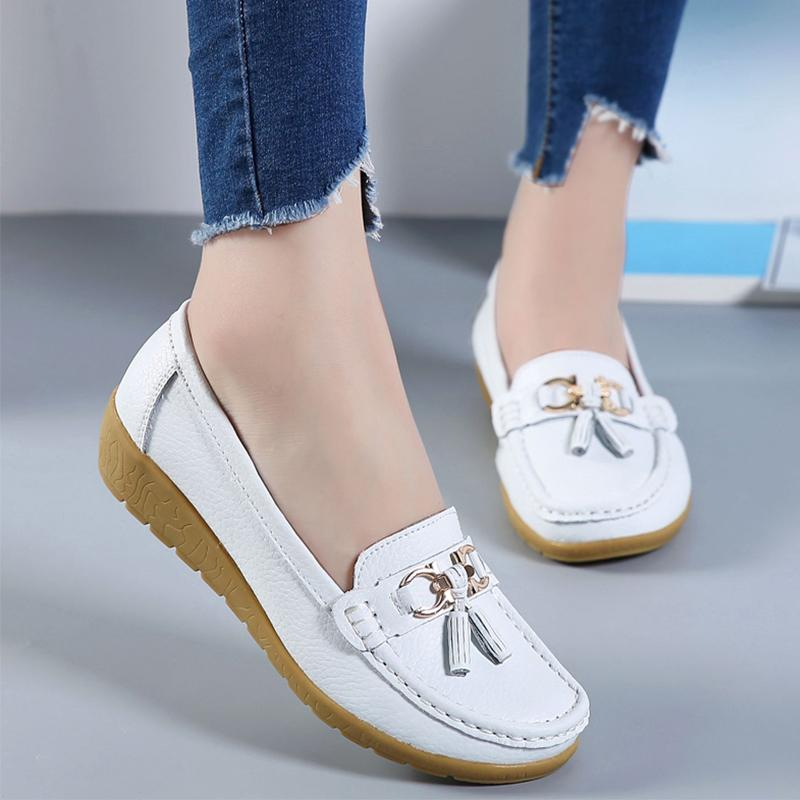 2019 Spring Women Ballet Shoes Flats Cut Out Leather Breathbale Moccains Women Boat Shoes Ballerina Ladies
