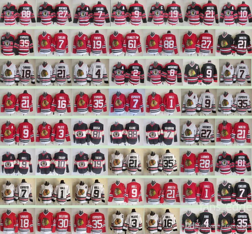 Winter Chicago Blackhawks Classic Men # 1 Glenn Hall 7 Chris Chelios 3 Pierre Pilote 35 Tony Esposito Camisetas de hockey sobre hielo