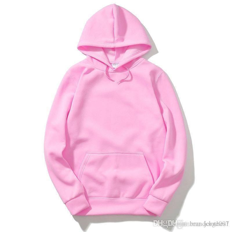 Men and women solid color Ell Ass Jus Nas Dre Pla fleece hooded sweater  velvet shirt kangaroo pocket men and women couple models