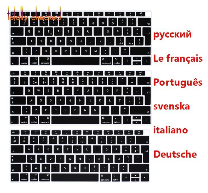 a0e19892a08 Russian German French Portuguese Italian Swedish Language Keyboard Skin  Cover For MacBook 13.3 A1932 2018 Release TouchID Keyboard Skin Rubber  Keyboard ...