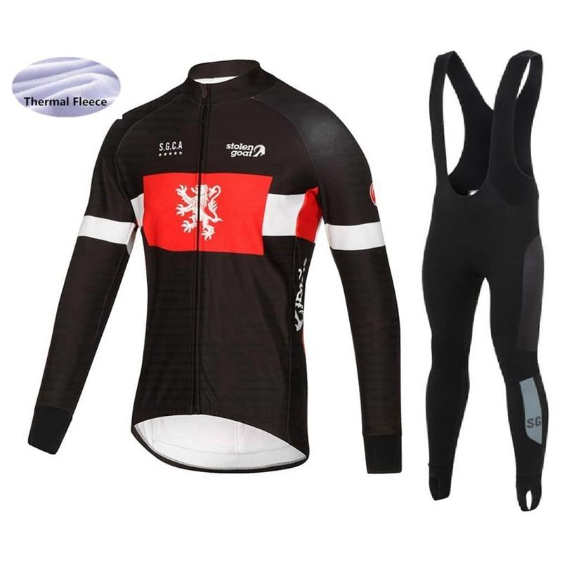 STOLEN GOAT 2018 Racing Suit Winter Bicycle Clothing Kit Cycling Jersey  Long Sleeve Bib Tights Windproof Sets Thermal Fleece Kits Bib Short  Mountain Bike ... 4c45c1174