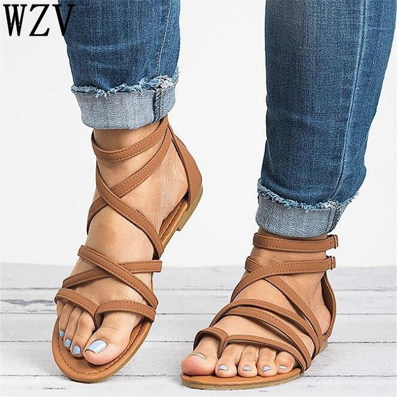 Correa Estilo Zapatos Coreano Mujer Planas De Verano Sandles Para Calzado 2019 Sandalias Cruzada H12 D9HWE2I