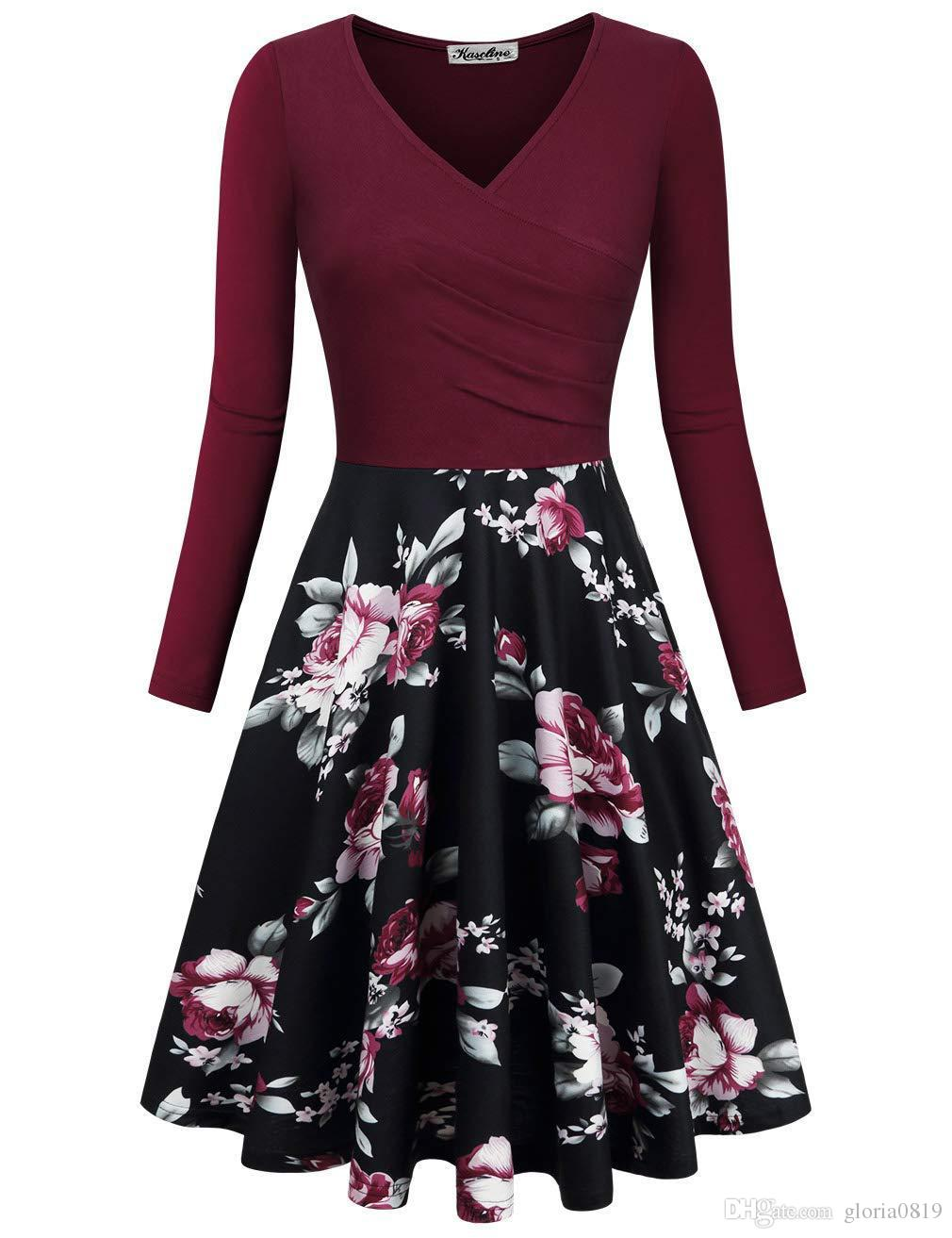 1c548639c884 2019 Long Sleeves Party Dresses V Neck Pleats Knee Length Floral Printed  Patchwork Casual Skater Dresses Available For Burgundy Purple Black Blue  From ...