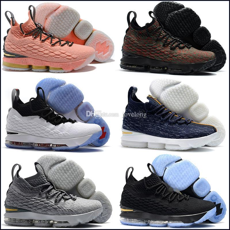 new concept ba85a 64e68 New 2019 Lebron 15 Black Volt Mens Basketball Shoes Kids Shoes James 15  Sneakers XV Sports Shoes