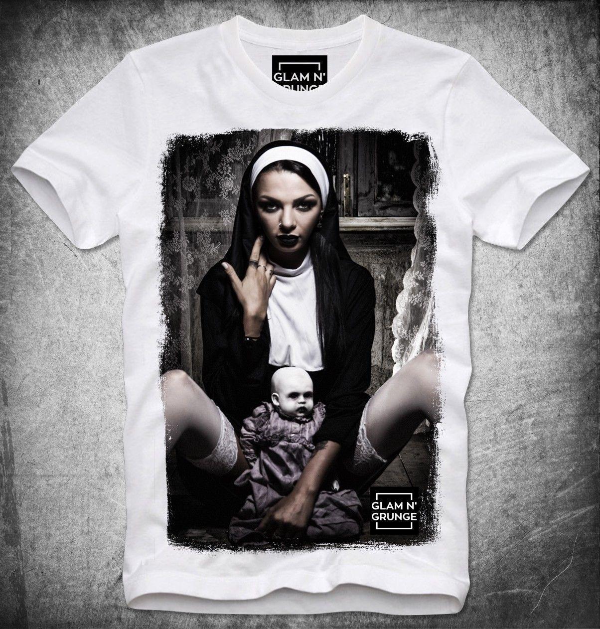 e029bc874 GLAM N GRUNGE T SHIRT SEXY GIRL NUN NONNE SATAN SATANIC CHURCH OF LAVEY  BAPHOMET Men Women Unisex Fashion Tshirt Buy Cool T Shirts Online Funny  Offensive T ...