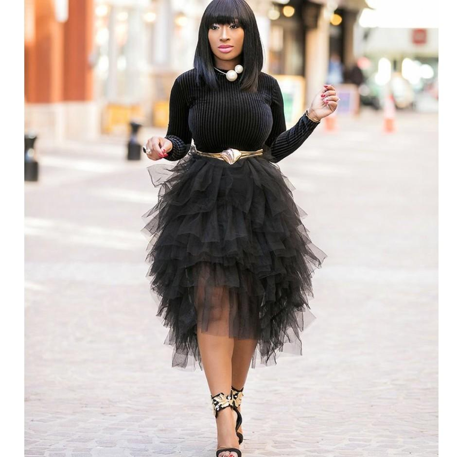 c051e66b4 Asimetría elegante volantes faldas de tul para dama negro acanalado gradas  alto bajo longitud de té falda de tul mujeres elástico tutu saias ...