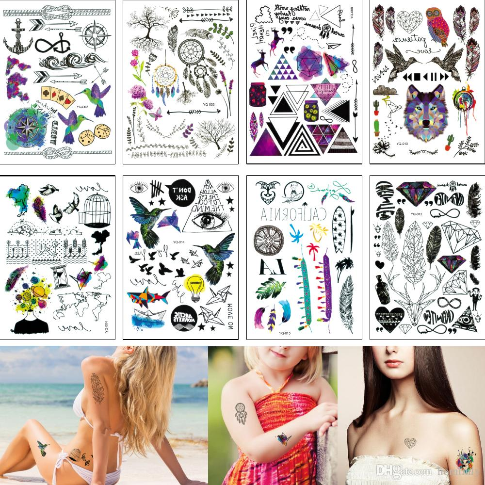 14 8 21cm Yq Small Temporary Tattoo Sticker Feather Word