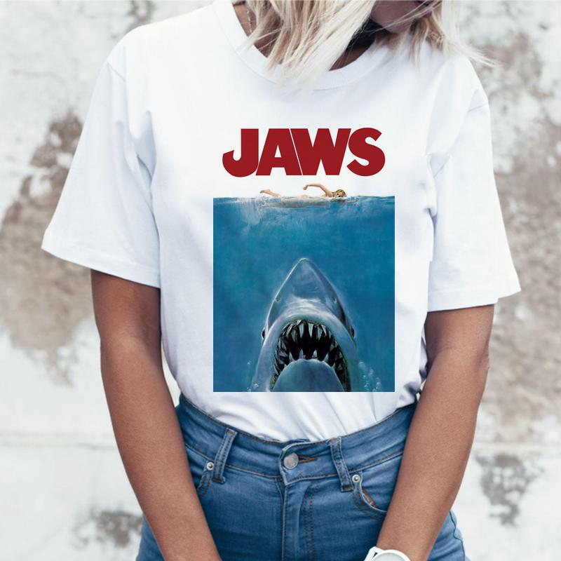 Shark Funny Mujer Print Jaws Animal Tee Manga Corta Verano Femme Camiseta Ropa De Feminismo 08wvOmyNn