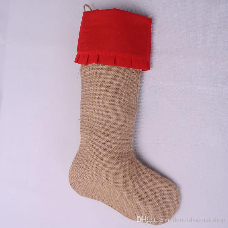 Burlap Christmas Stockings.Wholesale Burlap Jute Christmas Stockings Xmas Gift Bag For Children Christmas By Free Shipping In Three Different Colors Dom103191