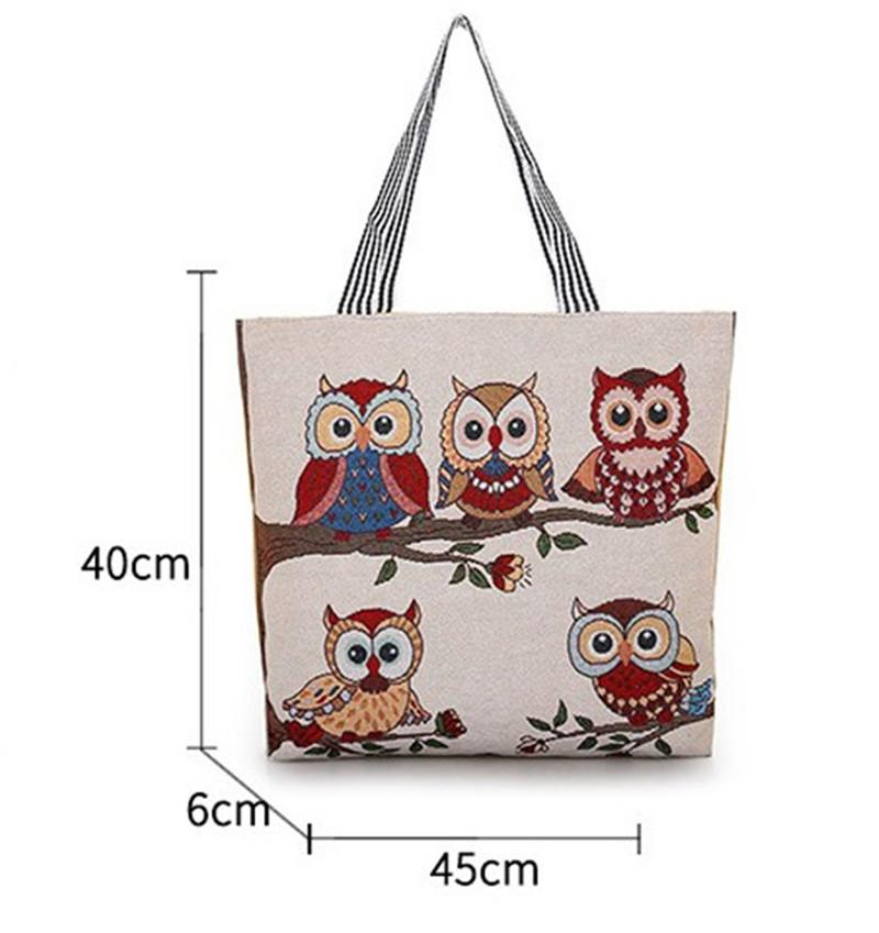 Designer Luxury Handbags Women Bags Jacquard Embroidered Lady Bag Owl Pattern Shopping Single Shoulders Canvas Style New Arrival Fashion Hot