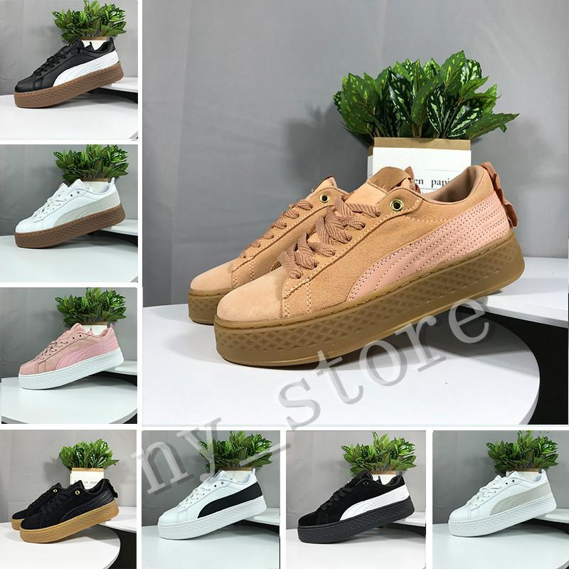 Hot Sale Smash Platform SD Platform Wheat Pink Casual shoes Fenty Cleated Creeper Professional shoes Women PM Suede Creepers