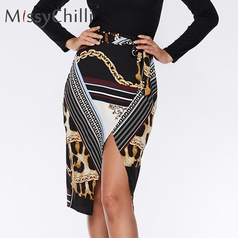 df46035611e MissyChilli Sexy Bodycon Split Print Lace Up Skirt Women Black Party ...