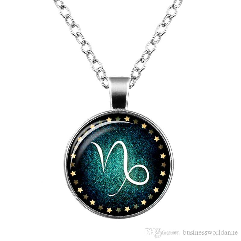 Bohomian 12 Constellations Zodiac Capricorn Time Gem Glass Cabochon Choker Long Link Chain Cuff Pendant Necklace For Women Men Metal Jewelry