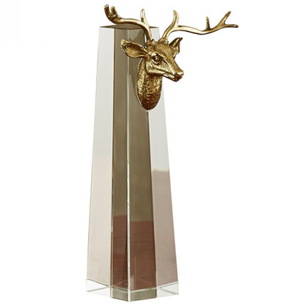 Deer Design Copper Table Deco Clear Crystal Home Decorations