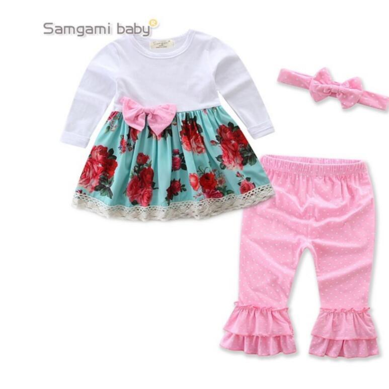 new product 8d5db 23a5f modello di moda invernale fenicotteri floreali neonate vestiti set camicia  a maniche lunghe con fascia gonna floreale
