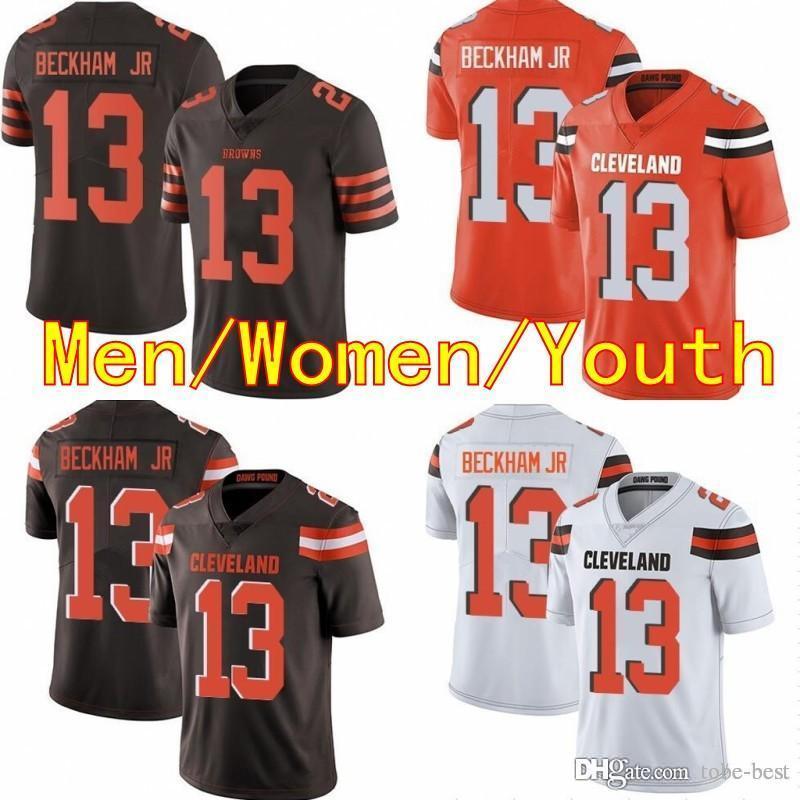 dcfde3d48 2019 Men Women Youth 13 Odell Beckham Jr 2019 New Cleveland Jersey 6 Baker  Mayfield Browns Football Jerseys White Orange Kids Stitched Cheap Sale From  Tobe ...