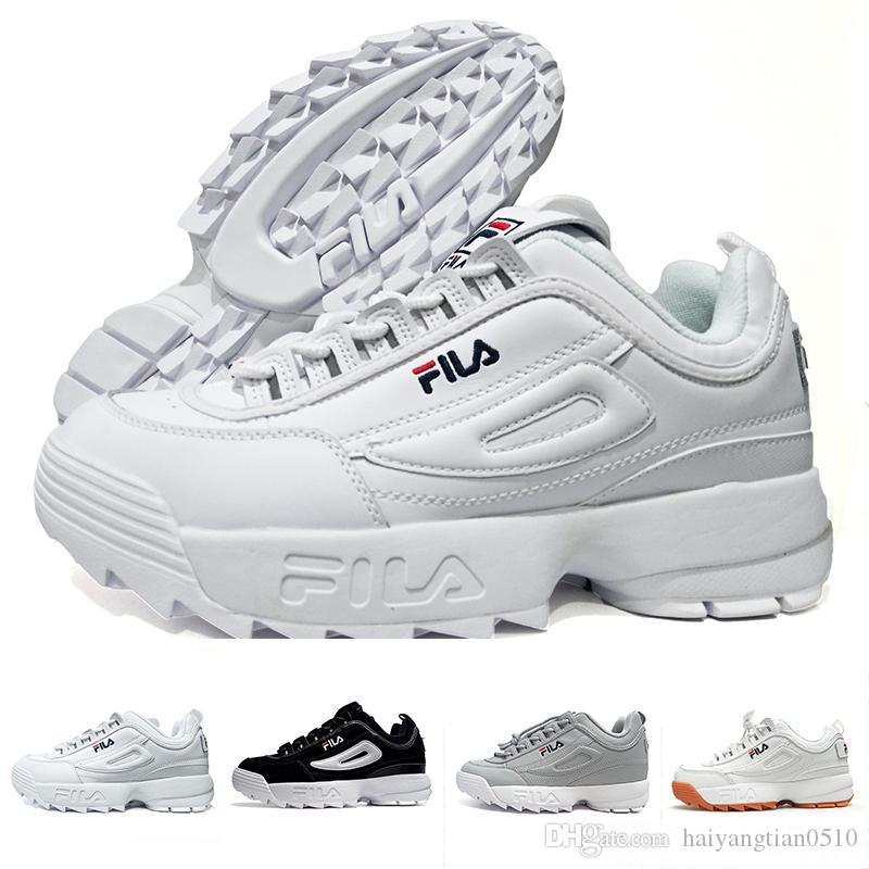 91747e2b25c3 Compre Original FILA Disruptors II 2 Homens Sapatos De Branco Preto II 2 S  Das Mulheres Dos Homens Designer De Corrida Seção De Tênis Caminhadas  Jogging ...