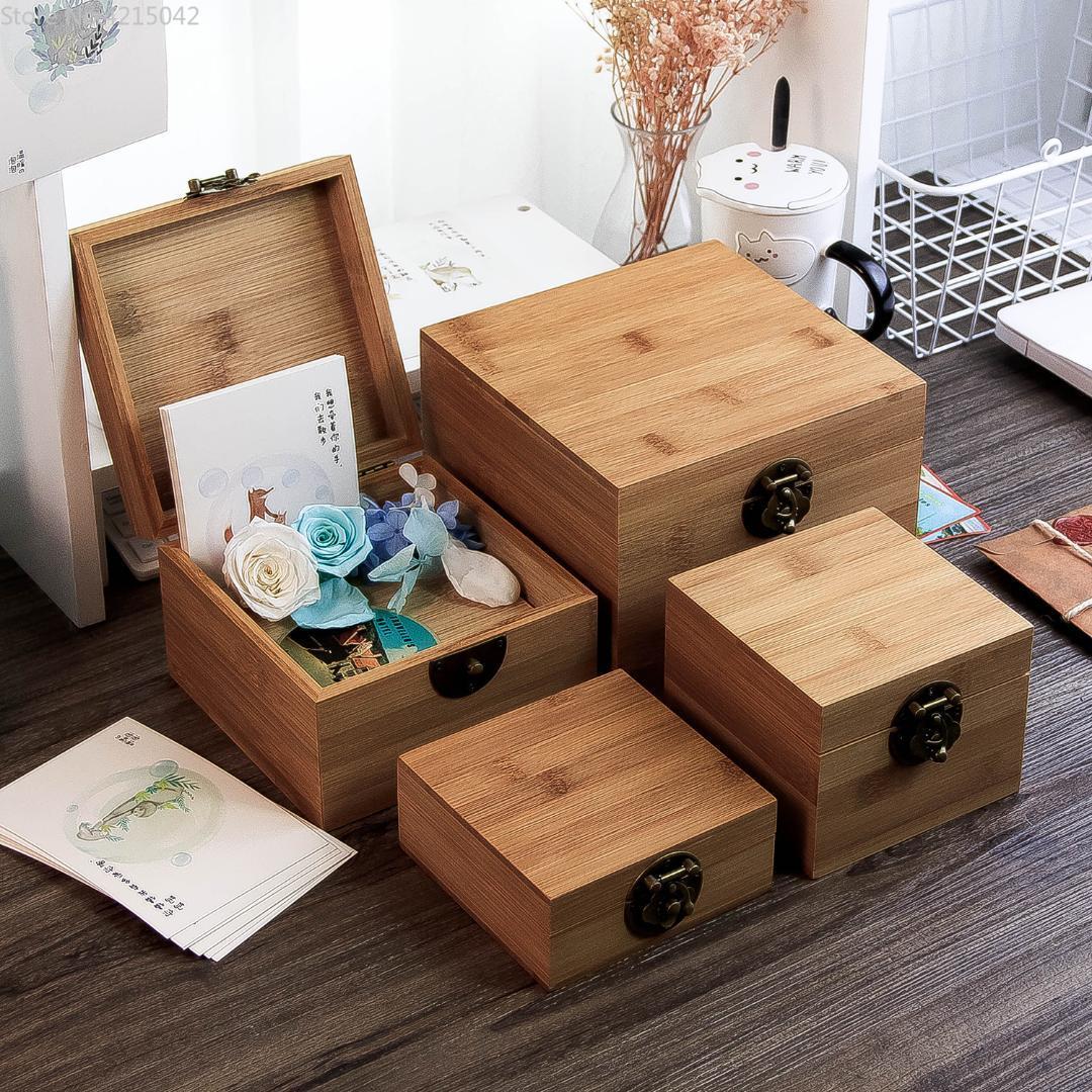 Acheter Boîte De Bambou Carré Clé De Bureau Coton Boîte De Rangement Boîte  De Rangement Pour Bijoux Collection De Stockage Emballage Maquillage  Organisateur ...